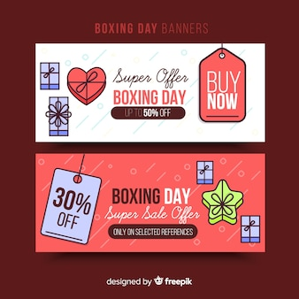 Flat boxing day sale banners