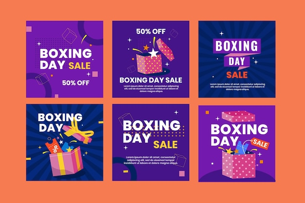 Flat boxing day sale instagram posts collection