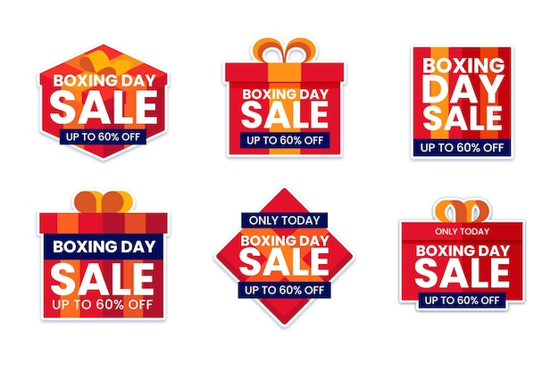 Flat boxing day sale label set