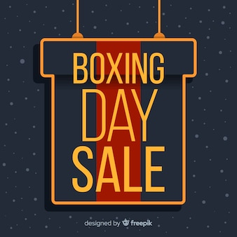 Flat boxing day sale with gift box hanging