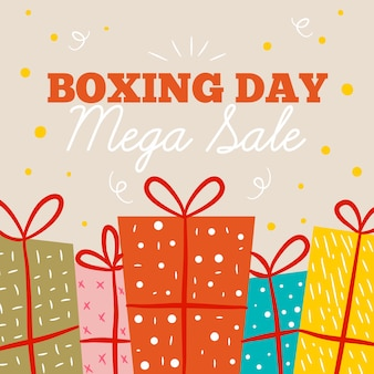 Flat boxing day sale with wrapped gifts
