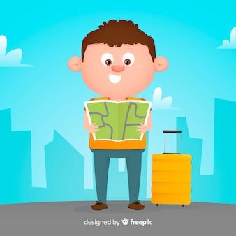 Flat boy traveling background