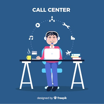 Flat boy working in a call center background