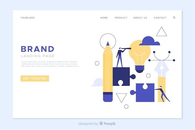 Flat branding landing page template Premium Vector