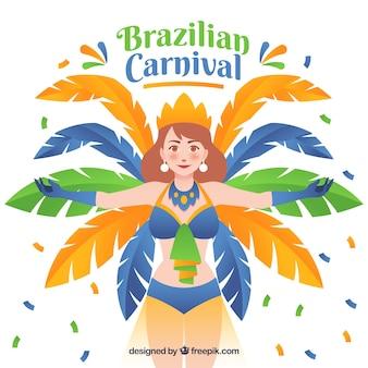 Flat brazilian carnival background with samba dancer illustration