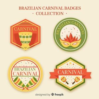 Flat brazilian carnival badge collection