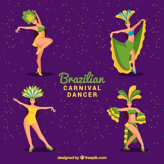 Flat brazilian carnival dancer collection