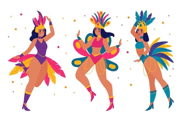Flat brazilian carnival dancer set