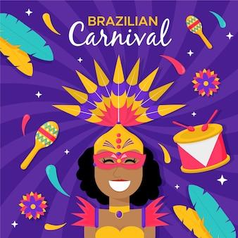 Плоский бразильский карнавал танцор