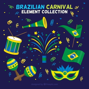 Flat brazilian carnival elements collection