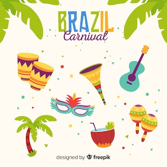 Insieme di elementi di carnevale brasiliano piatto