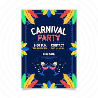 Flat brazilian carnival flyer template