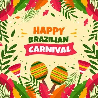 Carnevale brasiliano piatto illustrato