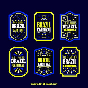 Flat brazilian carnival label/badge collection