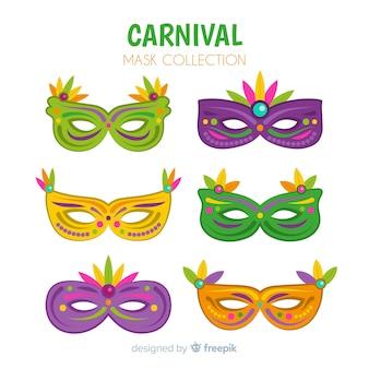Flat brazilian carnival masks pack