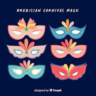 Pacchetto di maschere di carnevale brasiliano piatto