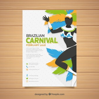 Flat brazilian carnival party flyer/poster