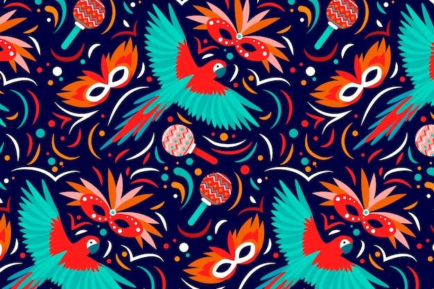 Плоский бразильский карнавальный узор с птицами
