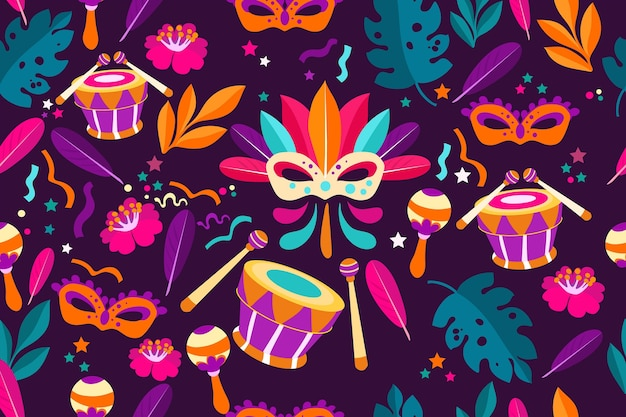 Flat brazilian carnival pattern with drums