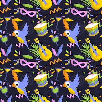 Flat brazilian carnival pattern with masks and birds