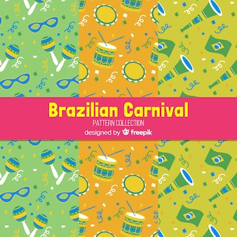 Flat brazilian carnival patterns