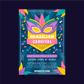 Плоский бразильский карнавал плакат