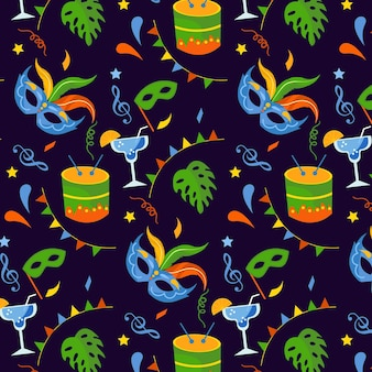Flat brazilian carnival seamless pattern