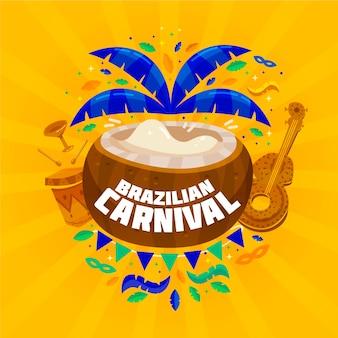 Flat brazilian carnival with coconut and ukulele