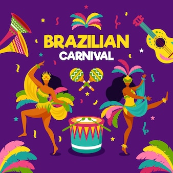 Flat brazilian carnival with dancers and music