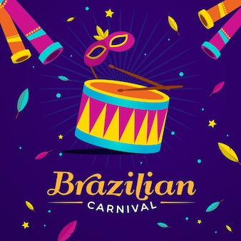 Flat brazilian carnival with drum and lettering