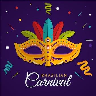 Flat brazilian carnival with golden mask