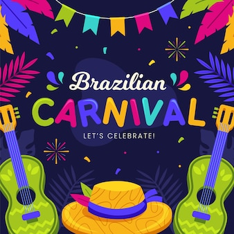 Flat brazilian carnival with guitar