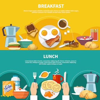 Flat breakfast banners set