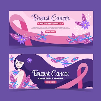 Flat breast cancer awareness month horizontal banners set