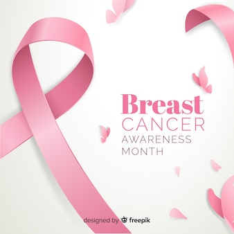 Flat breast cancer awareness with ribbon
