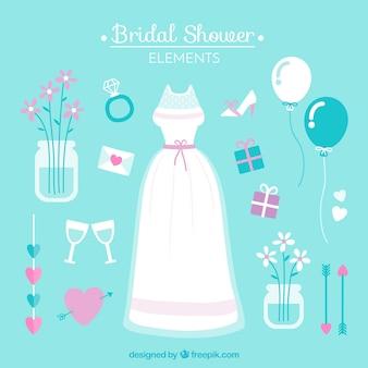 Плоские свадебные элементы для душа