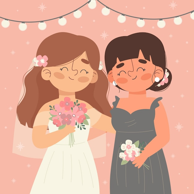 flat bridesmaid with bride illustrated