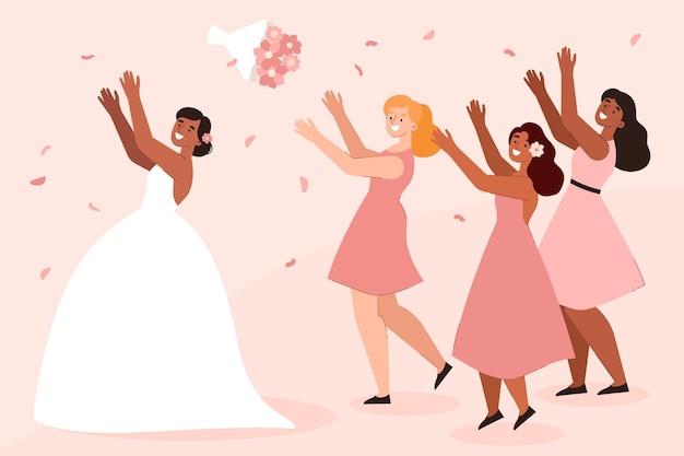 Flat bridesmaids in cute dresses