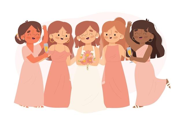 Плоские подружки невесты в милых платьях