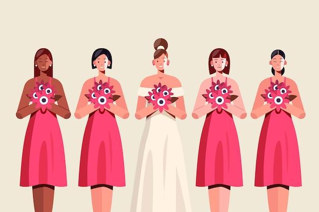 귀여운 드레스에 평평한 신부 들러리