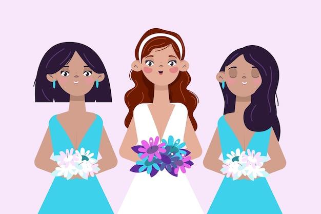 Плоские подружки невесты в милых платьях Premium векторы