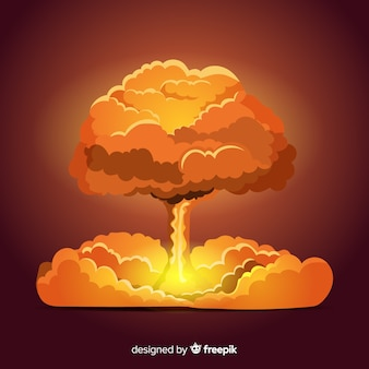 Плоский яркий эффект ядерного взрыва