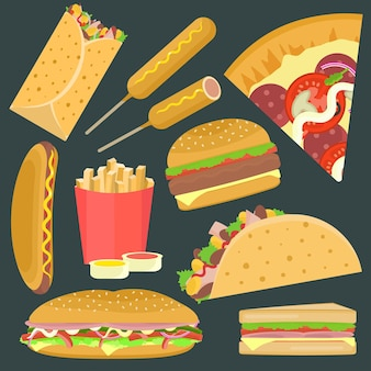 ハンバーガー、ピザ、サンドイッチ、タコスを含むフラット明るいベクトルファーストフードアイコンセット