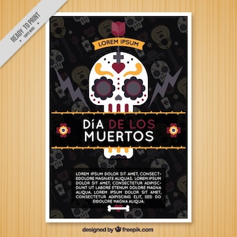Flat brochure with a mexican skull for the day of the dead