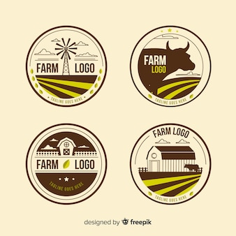 Flat brown farm logo collection