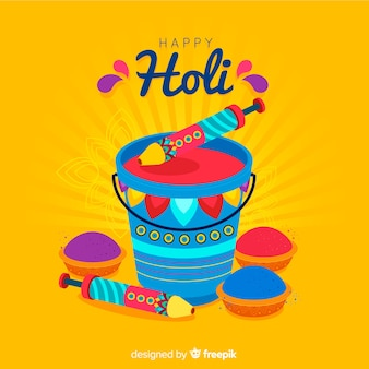 Flat bucket holi background