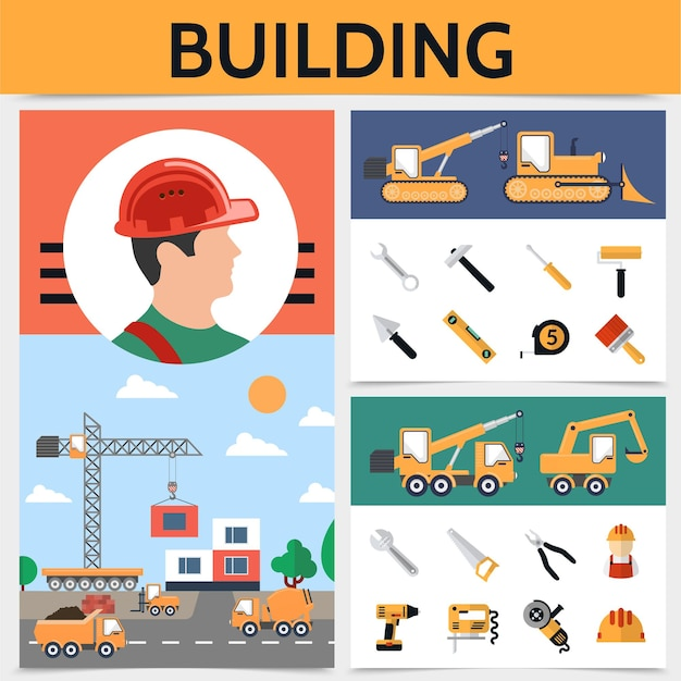 Flat building industry concept with builder construction vehicles tools and equipment illustration