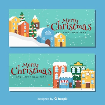 Flat buildings christmas town banner
