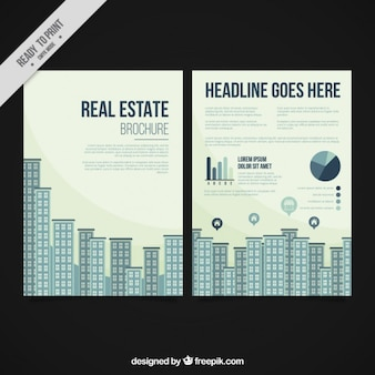 Flat buildings real estate brochure