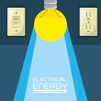 Flat bulb concept electrical energy Premium Vector
